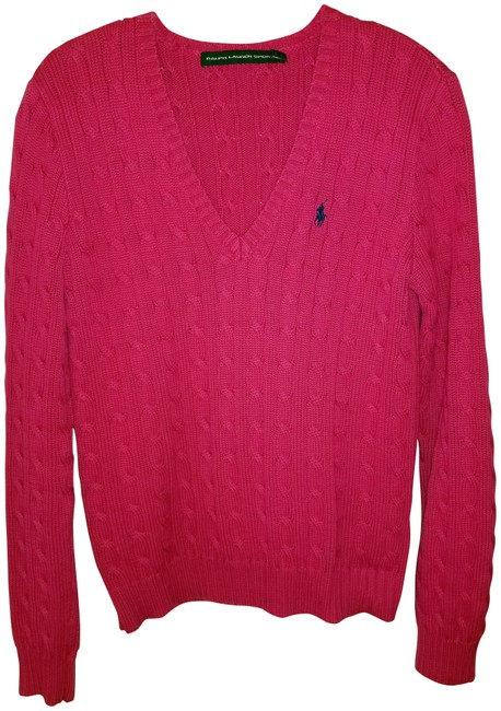 Item - L Sport Or 12 Cotton Cable Knit Fuchsia Sweater