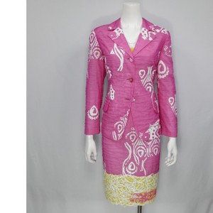 Christian Lacroix 3 Piece Hand Painted Organza Skirt Suit