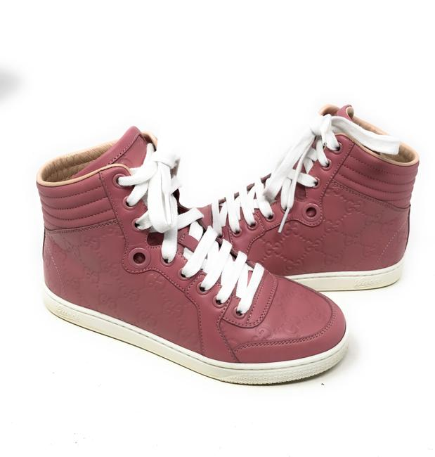Item - Pink Women's Leather High-top Sneakers Size EU 34.5 (Approx. US 4.5) Regular (M, B)