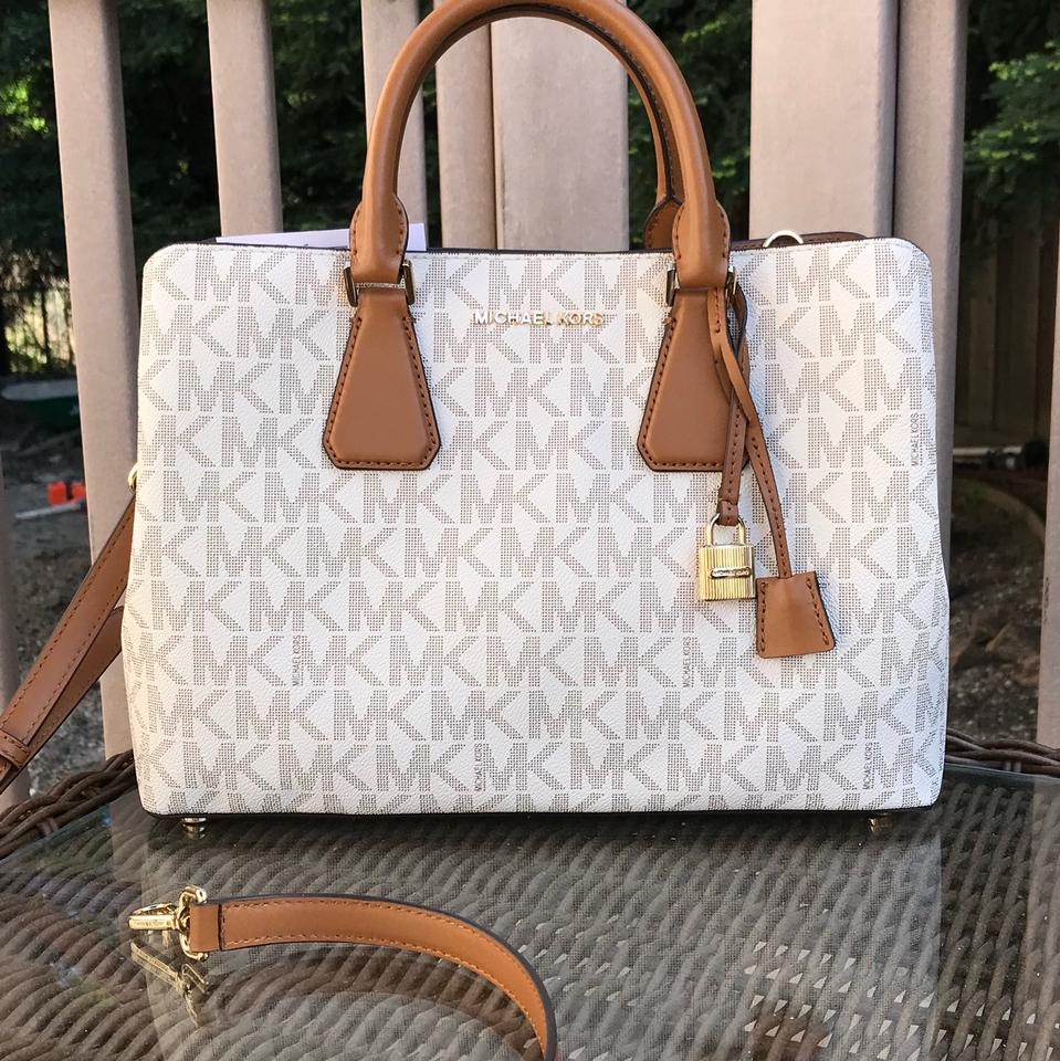772c33c2c0bf Michael Kors Signature Pvc/Leather Camille Crossbody +wallet Set Vanilla/Acorn  Pvc Leather Satchel - Tradesy