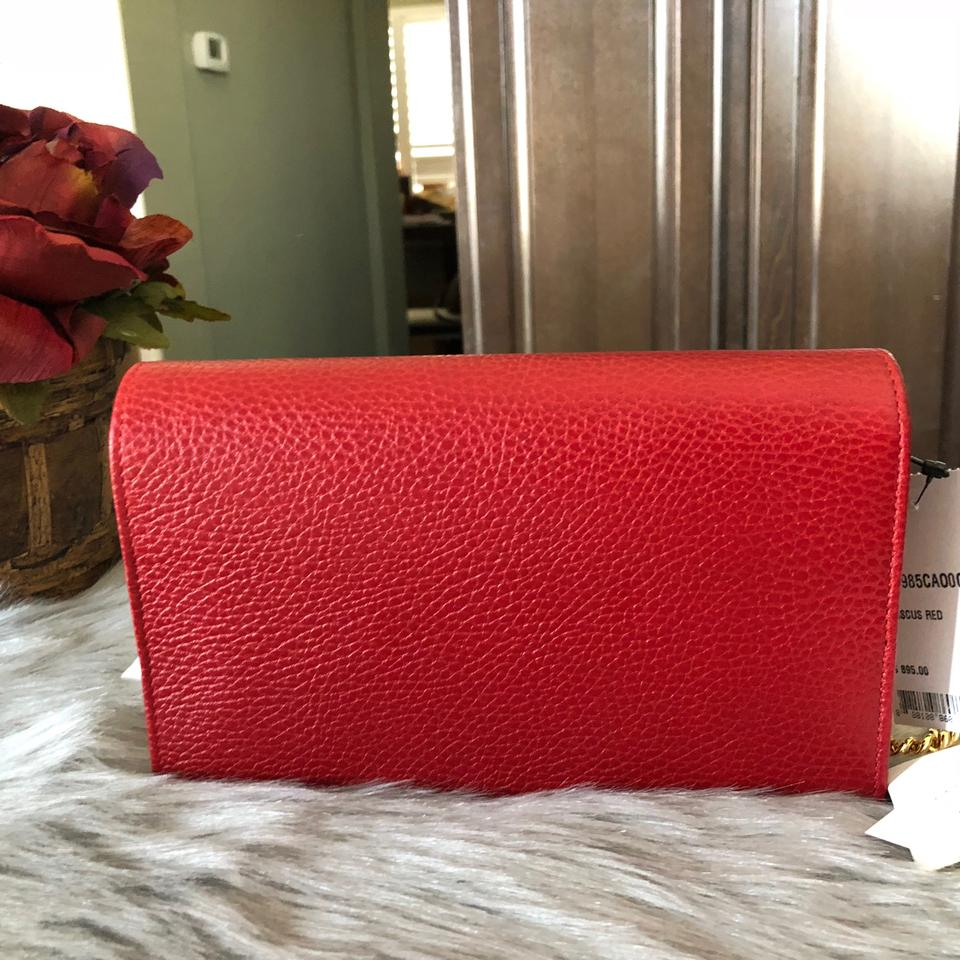 085253244119 Gucci Marmont New Petite Wallet On Chain Woc Red Leather Cross Body Bag -  Tradesy