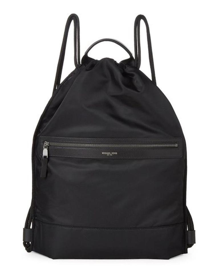 cae7afaa3500 Michael Kors New Mens Flat Drawstring Bookbag Black Nylon Backpack ...