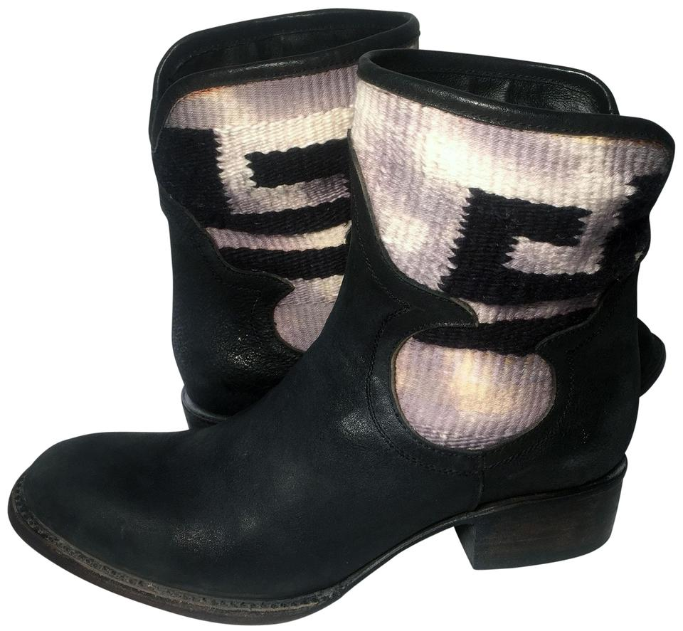 FreeBird Black Short Cablo Blanket Leather Short Black Ankle Women's Boots/Booties 565b0b