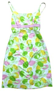Lilly Pulitzer short dress Green Pink Yellow Lemon Fruit Gingham Sundress Citrus on Tradesy