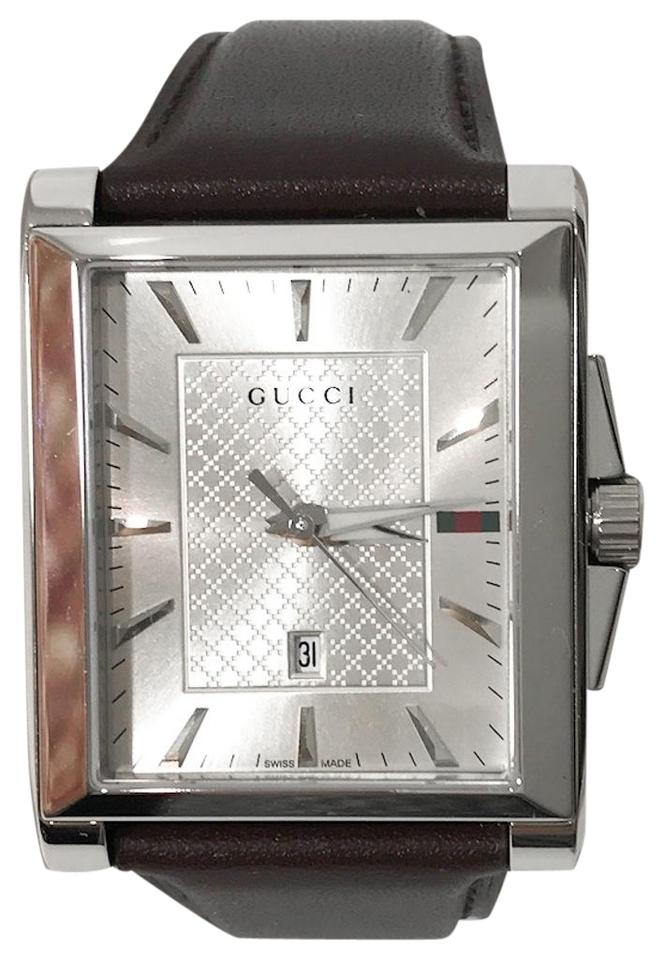 e9c2899cfdc Gucci Brown 361217 Men s G-timeless Dial Rectangle Leather Watch ...