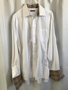 f0c568594 Burberry White White/Signature Plaid Dress with Cuff Sleeves Shirt