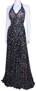 black and white Maxi Dress by Lisa Nieves Polka Dot Prom Maxidress Stretch