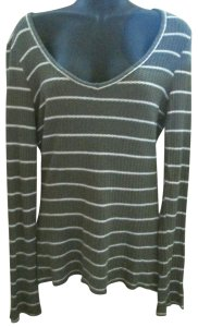 BKE Thermal Striped Fall Winter Knit Top Green