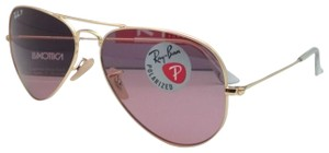 Ray-Ban Polarized RAY-BAN Sunglasses LARGE METAL 3025 001/15 58-14 Gold w/Pink