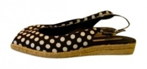 Via Spiga Peep Toe Sling new black polka dot Flats