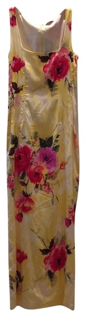 Item - Yellow with Floral Print Dolce & Gabbana Satin Long Night Out Dress Size 4 (S)