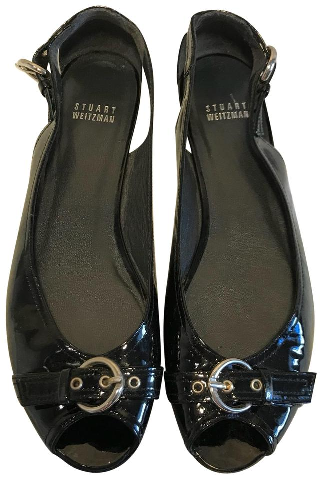 0f9caed494cd Stuart Weitzman Black Patent Leather Peep-toe Buckle Flats Size US 9 ...