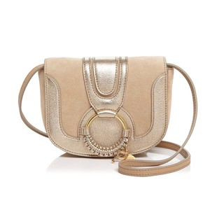 f90cfbbfb4982 See by Chloé Hana Suede Pearl Gold Leather Cross Body Bag - Tradesy