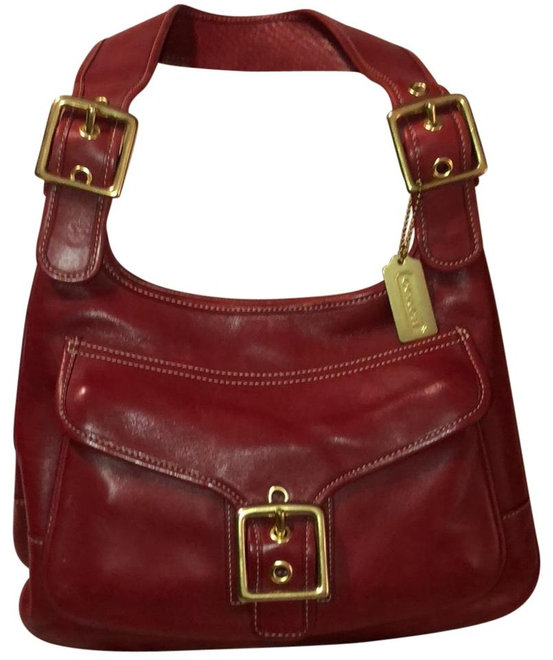 bd16a5289113 Coach Vintage Hobo with Buckle Red Leather Shoulder Bag - Tradesy