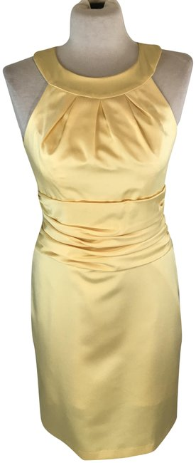 Item - Yellow/Canary Pleated Bust Ruching Bridesmaid Style F13277 Mid-length Formal Dress Size 6 (S)
