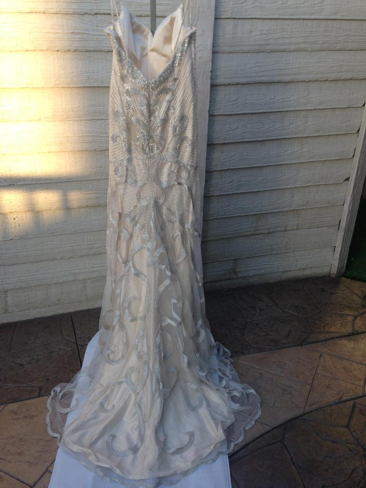 d5745d3fab2 Maggie Sottero Champagne with Silver Gold Accent Evita Satin Chancey 4mk847  Modern Wedding Dress Size. 1234567891011