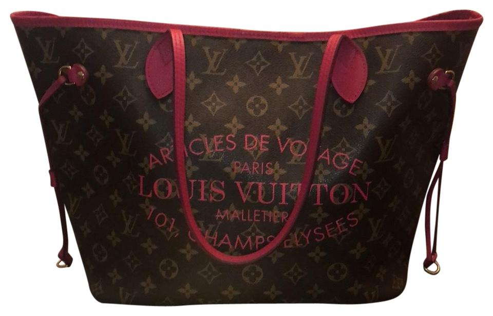 41a7915be0a3 Louis Vuitton Neverfull Monogram Writing Brown and Pink Leather Tote ...
