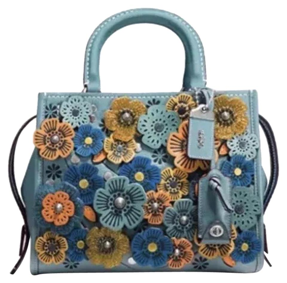 e406b433 Coach 1941 Rogue 25 In Glovetanned Pebble with Tea Roses Steel Blue Leather  Satchel 17% off retail
