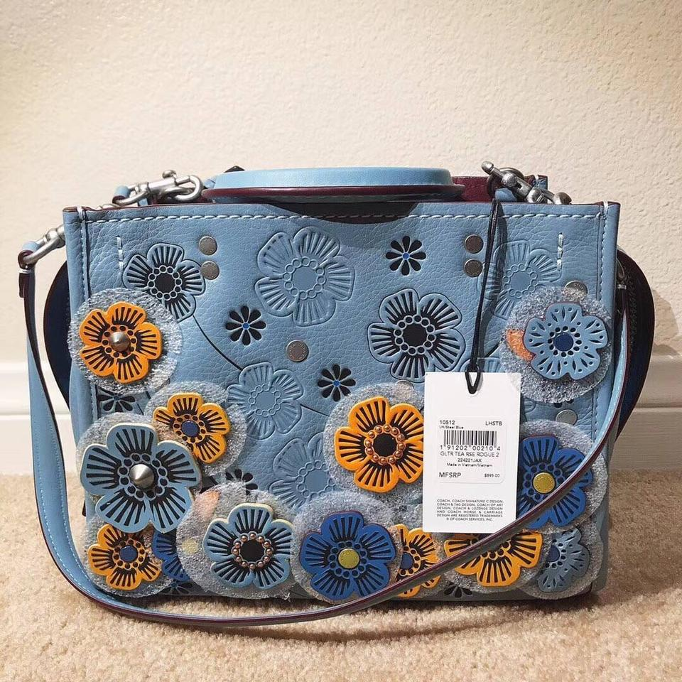 75444aea75 Coach 1941 Rogue 25 In Glovetanned Pebble with Tea Roses Steel Blue Leather  Satchel 17% off retail