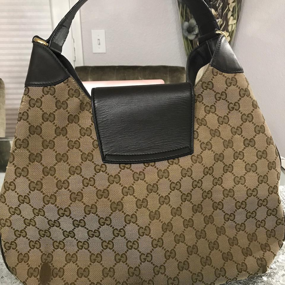 e8c18c4eed5 Gucci Emily Gg Gold Chain Brown Canvas with Leather Hobo Bag - Tradesy