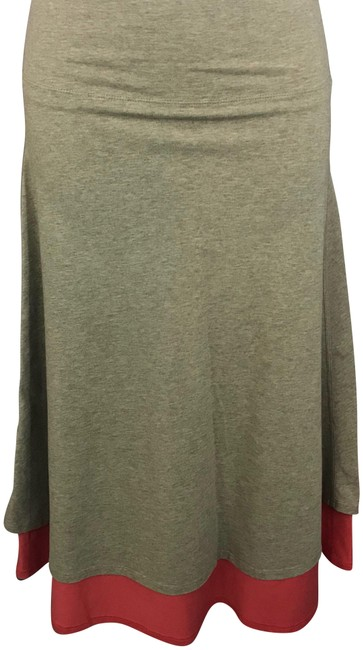 Item - Brown/Salmon Elastic Waist Colorblock Poly Blend A-line Skirt Size 4 (S, 27)