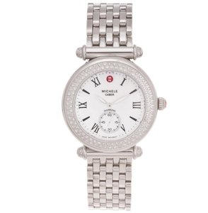 Michele Silver Caber Diamond Mother Of Pearl Dial Watch