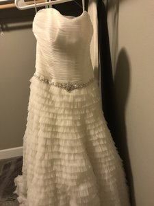 Galina Ivory Shell/Lining Polyester Netting Nylon Swg9902 Feminine Wedding Dress Size 6 (S)