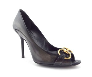 Gucci Logo Classic Horse Bit Open Toe Heels Distressed Black Pumps