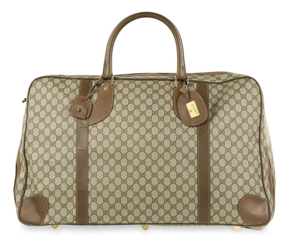 679cf0926a5 Gucci Monogram Supreme Gg Suitcase Brown Coated Canvas Weekend ...