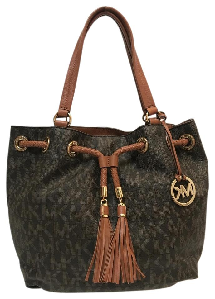 eb296a1f3cfccb MICHAEL Michael Kors Jet Set Ns Large Gathered Handbag (Brown) Brown  Leather Tote