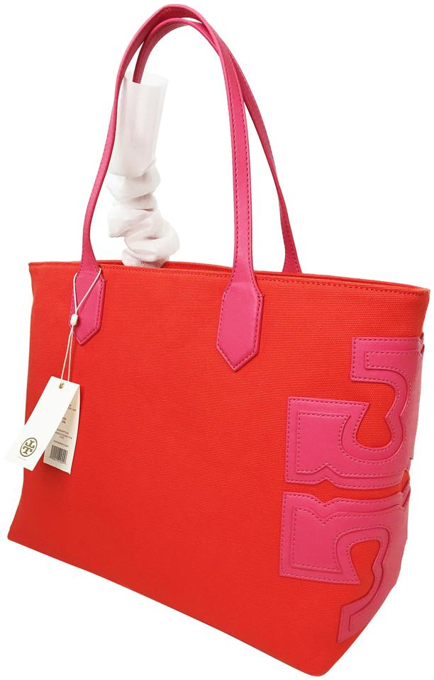 cdb2685791c Tory Burch T Stacked Ew Poppy Red  Fiesta Canvas Leather Tote - Tradesy