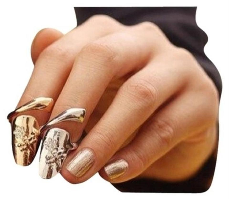 Gold Silver 2 Fashionable Dragonfly Rhinestones Flower Nail Ring ...