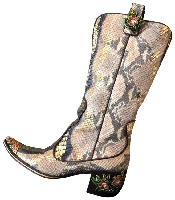 Item - Metallic Brown Python Leather Floral Accent Cowboy Boots/Booties Size EU 38.5 (Approx. US 8.5) Regular (M, B)