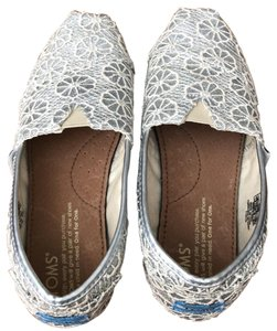 TOMS Silver Metallic with Ivory Thread Flats