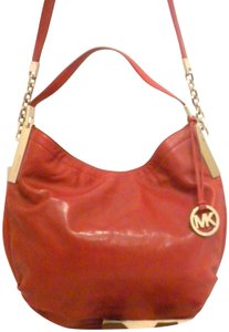 Michael Kors Chain Mk Julian Glazed Leather Convertible Shoulder Bag
