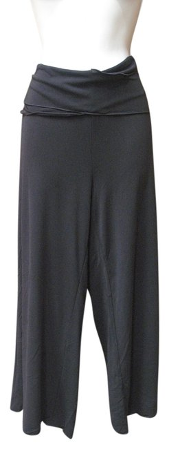 Item - Black Rayon Polyester Wide Leg Crop Made In Usa Large Pants Size 14 (L, 34)