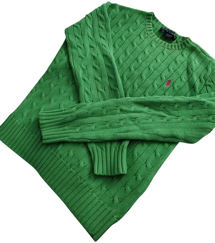 329970e72ff065 Polo Ralph Lauren Cotton Cable Knit Green Sweater - Tradesy
