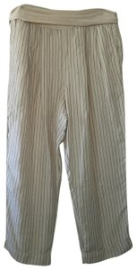 Anthropologie Linen Casual Comfortable Elastic Trouser Pants Black and white