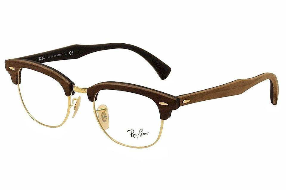 4ee760f77422 Ray-Ban Brown Wood New Clubmaster Rx-able Rb 5154-m 5559 Sunglasses ...