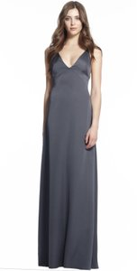 Monique Lhuillier Smoke Sateen 450495 Maresa Modern Bridesmaid/Mob Dress Size 6 (S)