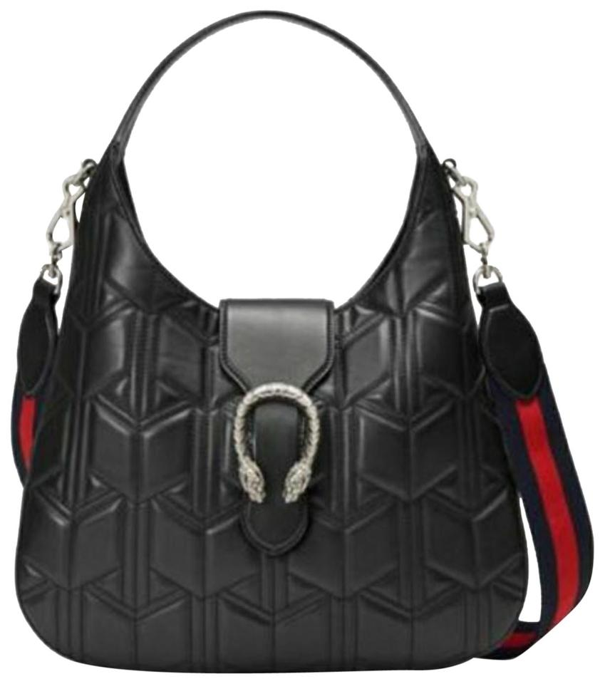 bf0b59601a9f96 Gucci Dionysus W Nwt's Apollo Med W/Strap Black Leather Hobo Bag ...
