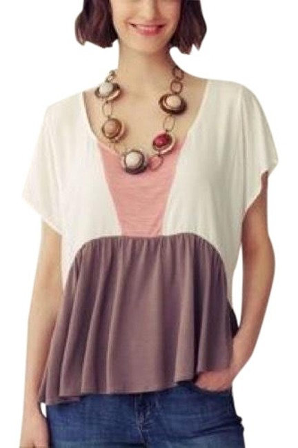 Item - Cream Pink Brown Flowy Blouse Size 4 (S)