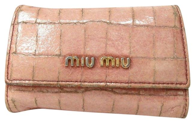 Item - Six Hooks Prada Hook Key Holder Embossed Patent Case Wristlet Pink Gold Leather Clutch
