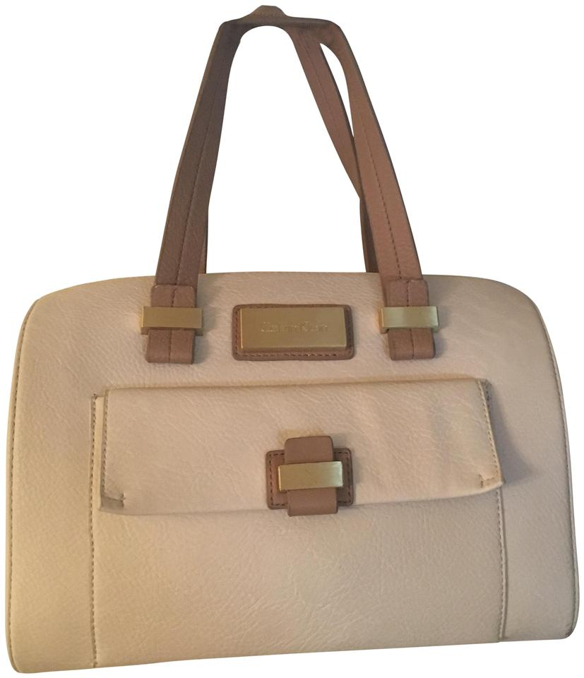 Calvin Klein Satchel In White And Beige With Gold Hardware