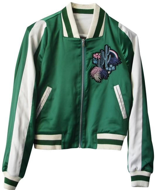 Item - Green Embroidered Bomber Jacket Size 2 (XS)