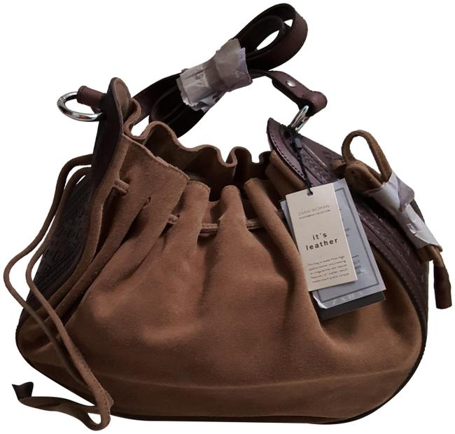 Zara Bucket With Side Strap (4007) Taupe Cow Leather Shoulder Bag Zara Bucket With Side Strap (4007) Taupe Cow Leather Shoulder Bag Image 1
