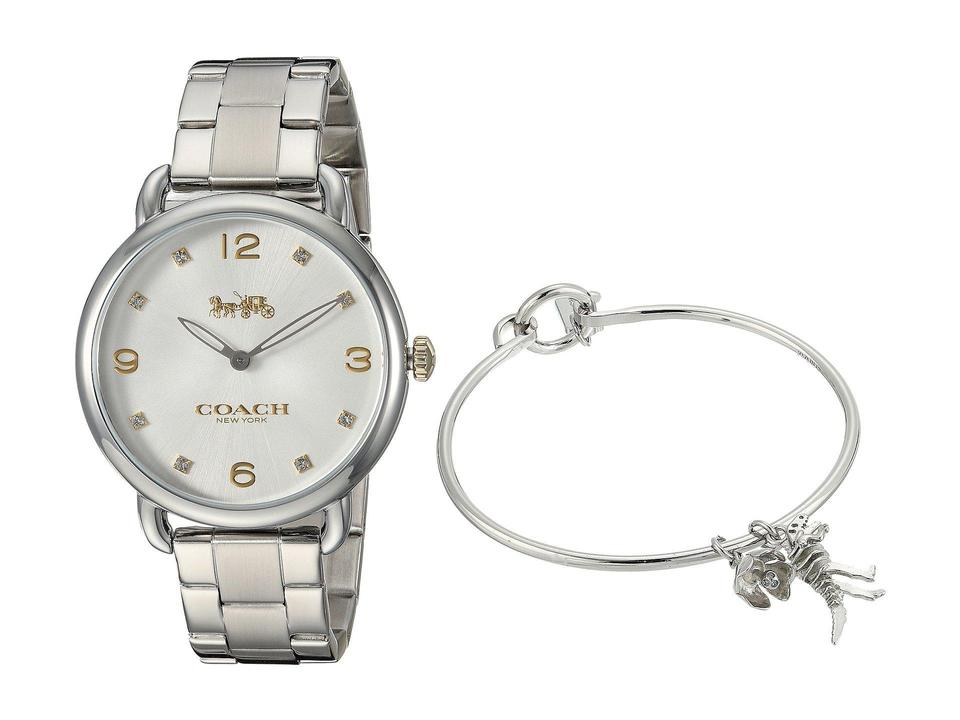 Coach Silver Tone Stainless Steel Delancey 14000056 Charm Bracelet