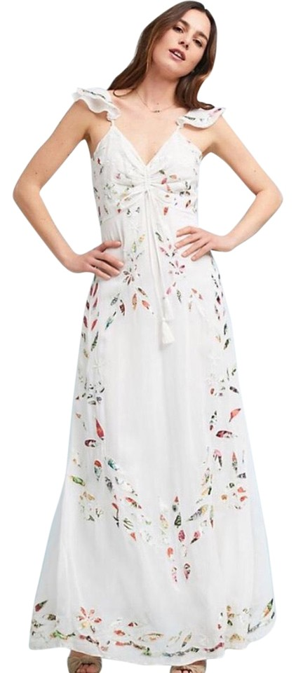 3d15dfed952 Anthropologie White Red Farm Rio   Floral Flutter Long Casual Maxi ...