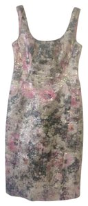 Maggy London Floral Metallic Sheath Fitted Dress
