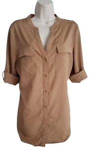 Premise Roll-tab Long Sleeve Button Top Tan